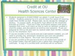 credit at ou health sciences center