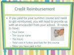 credit reimbursement
