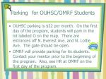 parking for ouhsc omrf students