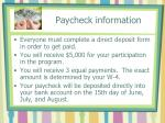 paycheck information