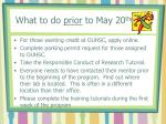 what to do prior to may 20 th