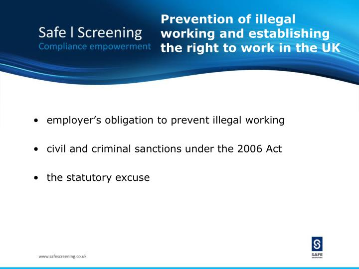 Prevention of illegal working and establishing the right to work in the UK