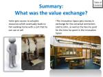summary what was the value exchange