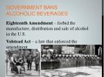 government bans alcoholic beverages