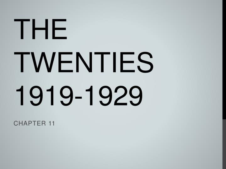 the twenties 1919 1929 n.