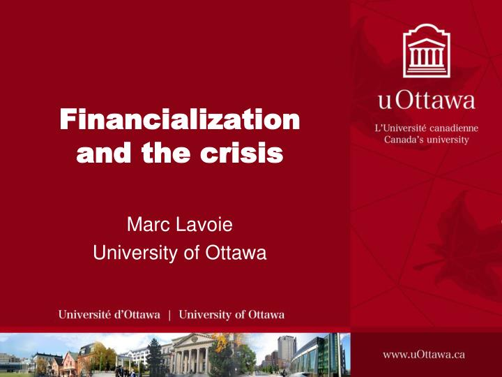 financialization and the crisis n.