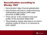 securitization according to minsky 1987