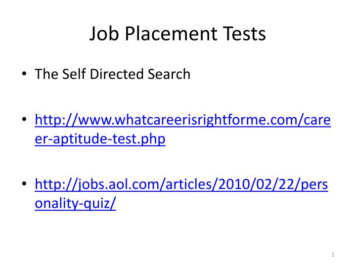 job placement tests n.