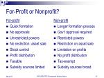 for profit or nonprofit