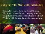 category vii multicultural studies