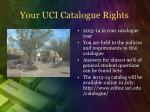 your uci catalogue rights