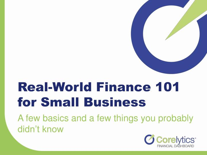 real world finance 101 for small business n.
