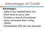 advantages of credit