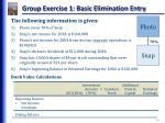 group exercise 1 basic elimination entry