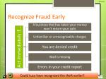 recognize fraud early