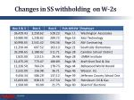 changes in ss withholding on w 2s