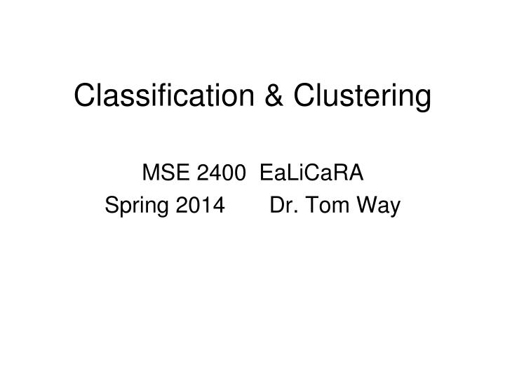 classification clustering n.