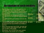 an example of cash creation