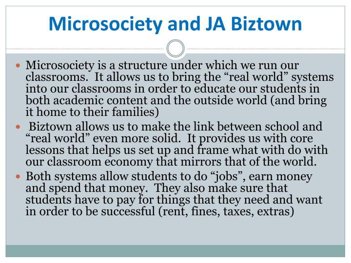 Microsociety and JA Biztown