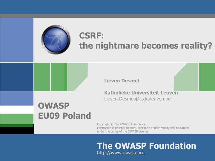 csrf the nightmare becomes reality n.