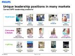 unique leadership positions in many markets current nps leadership positions 1