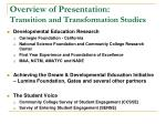 overview of presentation transition and transformation studies