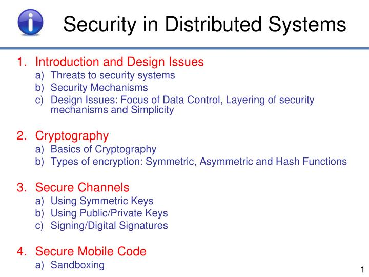 security in distributed systems n.