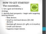 how to get started the essentials