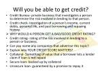will you be able to get credit