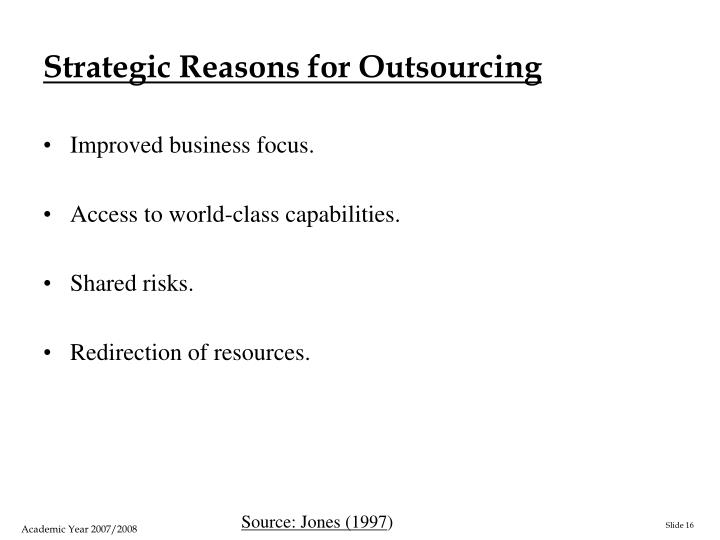 Strategic Reasons for Outsourcing
