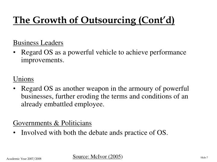The Growth of Outsourcing (Cont'd)