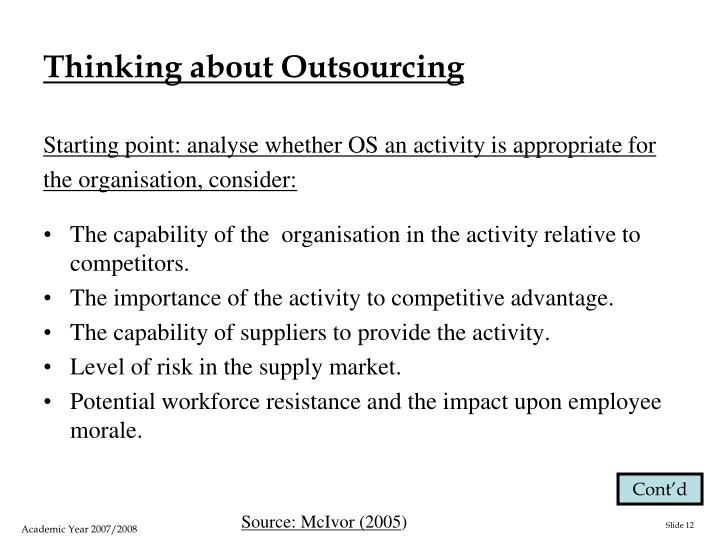 Thinking about Outsourcing
