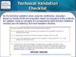 technical validation checklist