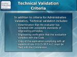 technical validation criteria