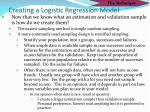 creating a logistic regression model2