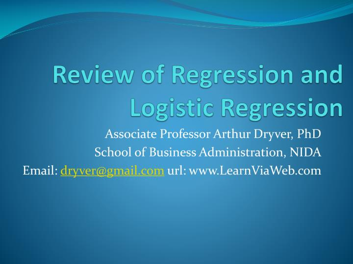 review of regression and logistic regression n.