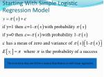 starting with simple logistic regression model