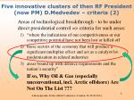 five innovative clusters of then rf president now pm d medvedev criteria 2
