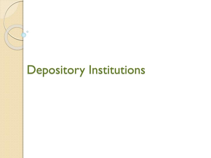 depository institutions n.
