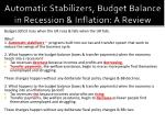 automatic stabilizers budget balance in recession inflation a review1