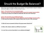 should the budget be balanced1