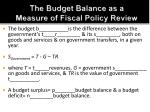 the budget balance as a measure of fiscal policy review1
