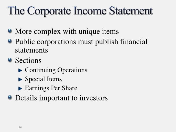 The Corporate Income Statement