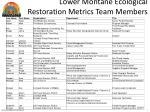 lower montane ecological restoration metrics team members