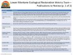 lower montane ecological restoration metrics team publications to review p 1 of 2