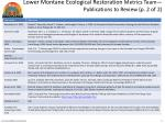 lower montane ecological restoration metrics team publications to review p 2 of 2