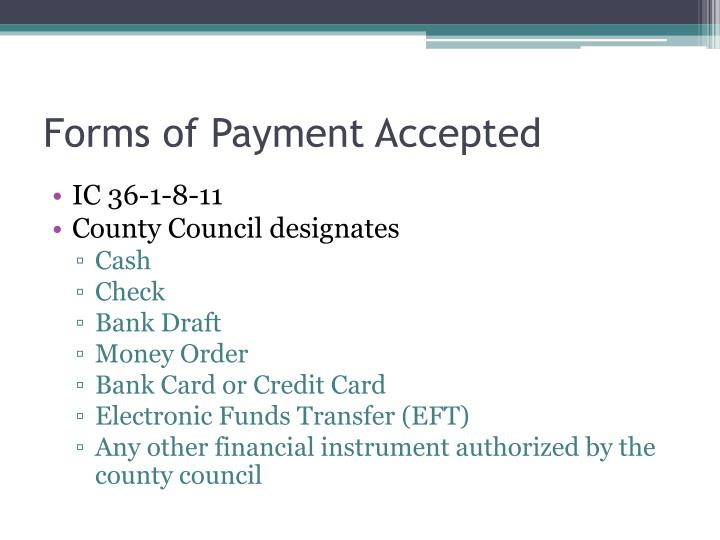 Forms of Payment Accepted