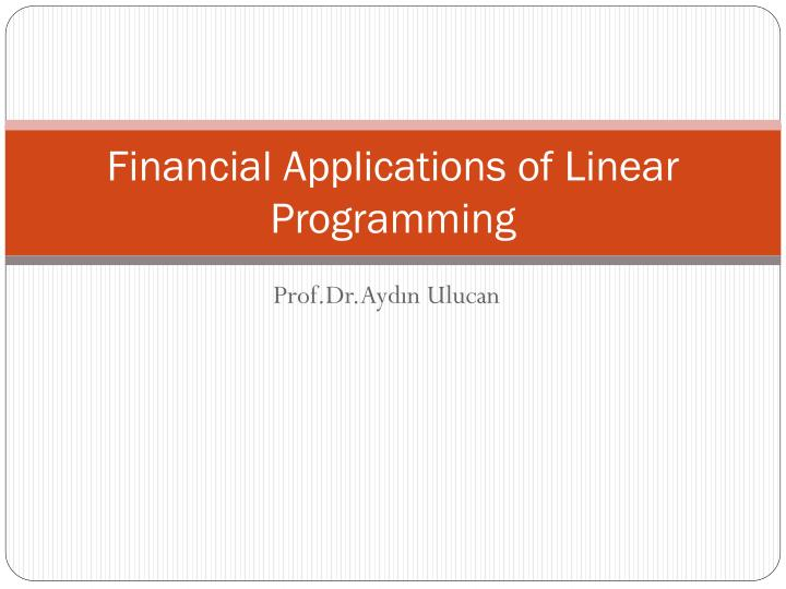 financial applications of linear programming n.