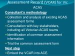 victorian comprehensive assessment record vcar for vic acas