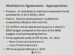 multidistrict agreements appropriation